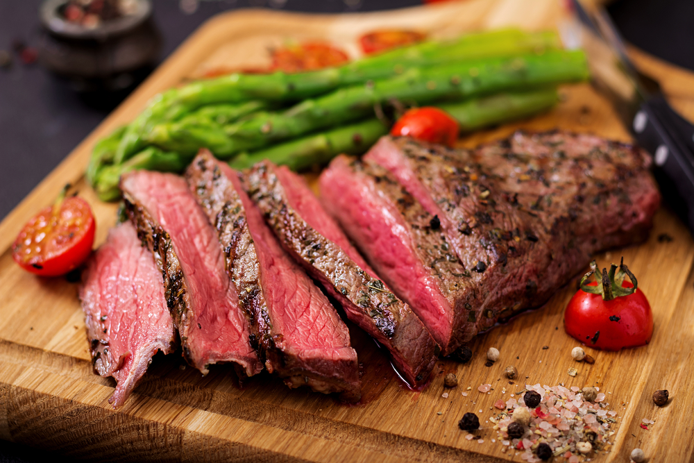 Steak with Garlic Herb Butter and Asparagus
